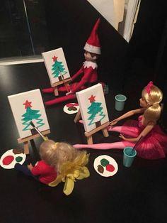 Elf on the shelf . Very creative ideas.