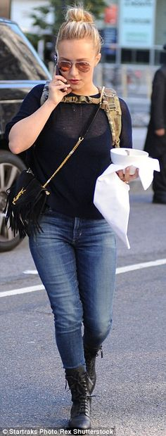 Skinny jeans: The Nashville star rocked skinny jeans while out in the Big Apple...