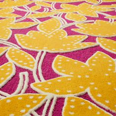 The Land of Nod | Kids Rugs: Raised Pink Lily Floral Rug in Patterned Rugs