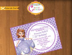 Princess Sofia the First Printable Birthday Party Invitation by CraftyCreationsUAE