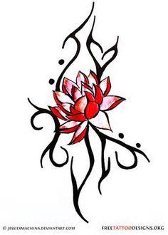Lotus And Tribal Tattoo Design