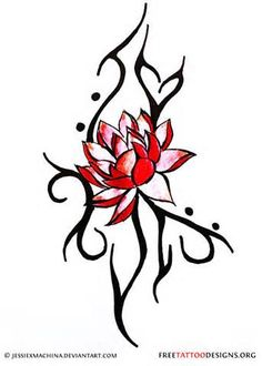 Lotus And Tribal Tattoo Design