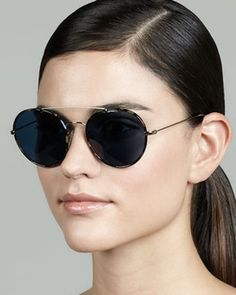 Prada Catwalk Round Aviator Sunglasses, Blue Havana on shopstyle.com