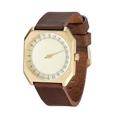 slow Jo 18 - Dark Brown Vintage Leather, Gold Case, Gold Dial.  Who needs a minute hand, really.