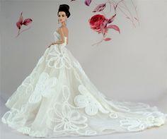 Barbie Wedding Dress, Wedding Doll, Barbie Dress, White Wedding Dresses, Wedding Party Dresses, Gown Wedding, Bridal Gown, Doll Clothes Barbie, Barbie Doll