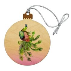 A070 Clear Glass Drop w Peacock Feather Glass Bauble Christmas Tree Ornament