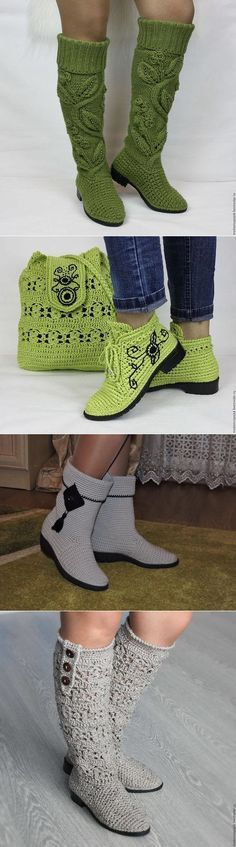 Crochet Patterns Slippers This Pin was discovered by Car Crochet Boots, Crochet Slippers, Crochet Clothes, Crochet Baby, Knit Crochet, Freeform Crochet, Crochet Stitches, Knitting Patterns, Crochet Patterns