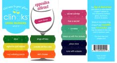 Clingks Drink Markers - Opposites Attract theme - $5.99 for set of 12. Funny, reusable, static-cling wine charms for stemless glasses. Get your guests laughing to start your party off right. Great for hostess gifts, too.  Visit Clingks.com to buy.