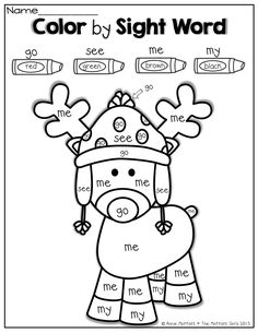 Worksheets Kindergarten Christmas Worksheets 1000 images about christmas worksheetsprintables on pinterest color by sight word for christmas
