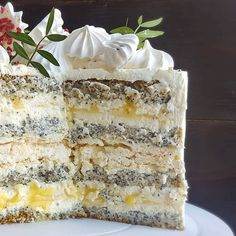 Unique Desserts, Gourmet Desserts, Easy Cake Recipes, Dessert Recipes, Inside Cake, Poppy Seed Cake, Sweet Pastries, Pastry Cake, Cake Decorating Tips