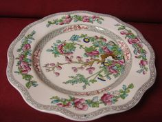 Coalport China England Floral Indian tree Black Scalloped Dinner plate