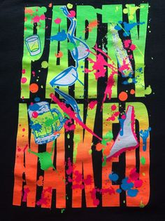 90s Neon Party Naked T-shirt Men's Size Large Naughty College Drinking  #Gildan #GraphicTee