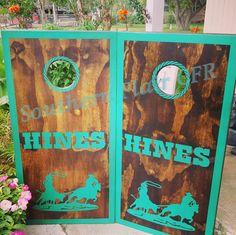 Custom cornhole boards.