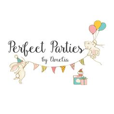 Bunny & Bear Party Premade Logo Design - Customized with Your Business Name!