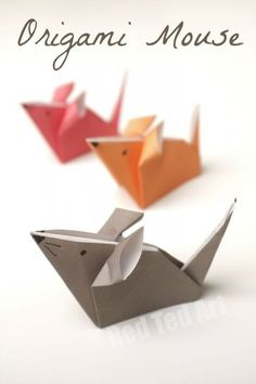 Super Cute Origami Mouse How To. Also a great origami project for Chinese New Ye. Super Cute Origami Mouse How To. Also a great origami project for Chinese New Year and the Year of Origami Design, Diy Origami, Origami Simple, Easy Origami For Kids, Origami Mouse, Paper Crafts Origami, Origami Stars, Diy Paper, Paper Crafting