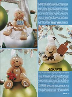 Pasta Revista - Biscuit e Arte arte - Álbumes web de Picasa Gingerbread Man Crafts, Christmas Gingerbread Men, Polymer Clay Christmas, Polymer Clay Crafts, Christmas Room, Christmas Balls, Winter Christmas, Clay Ornaments, Diy Christmas Ornaments
