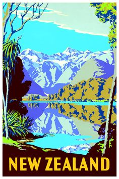 New Zealand Travel Poster Wall Decor (7 print sizes available)