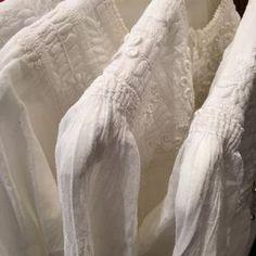 Two Button White on White Embroidered Long Sleeve Blouse, Chiapas - Zinnia Folk Arts