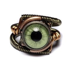 Eyeball ring Green taxidermy glass Eye Bronze copper finish
