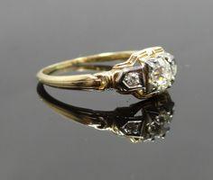 Intricate Geometric Two Tone 1940s Vintage Diamond by MSJewelers, $1245.00  One of my favorites!