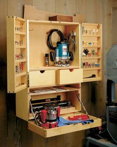 Router cabinet and bit storage