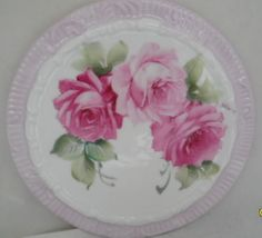 Pink Roses Hand Painted China TEA Tile Trivet Caddy Plate Signed Ship Disc | eBay