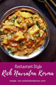 Navratan korma recipe with step by step photos. learn how to make rich and creamy mughlai navratan korma with this easy recipe! Veg Recipes, Curry Recipes, Indian Food Recipes, Real Food Recipes, Vegetarian Recipes, Cooking Recipes, Healthy Recipes, Indian Vegetable Recipes, Kitchens