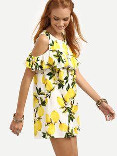 Shop Open Shoulder Ruffled Lemon Print Dress - Yellow online. SheIn offers Open Shoulder Ruffled Lemon Print Dress - Yellow & more to fit your fashionable needs.