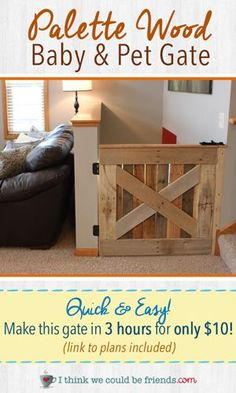 Palette Wood Baby & Pet Gate LOVE this baby gate! I wish I was handier! We are on our baby gate, and it's half broken:)LOVE this baby gate! I wish I was handier! We are on our baby gate, and it's half broken:) Baby Gates, Dog Gates, Wood Baby Gate, Diy Baby Gate, Barn Door Baby Gate, Baby Door, Diy Dog Gate, Creation Deco, Pallet Crafts