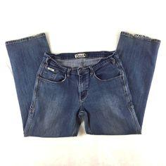 BERNE Women Carpenter Work Jeans Size 14 Denim Stretch Ranch Garden Barn Grunge  #BerneApparel #StretchCarpenterRelaxedStraightLeg