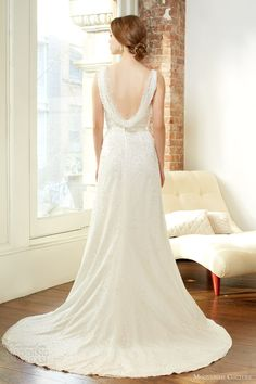 moonlight couture fall 2013 bridal sleeveless wedding dress thigh slit style h1225 open back cowl