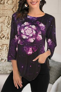 Casual Gradient Floral Print Paneled Irregular Hem 3/4 Sleeves Blouse - Shopingnova