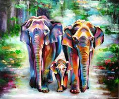 Elephans Landscape oil painting on canvas Tropical animal painting - buy or order in an online shop on Livemaster - FLU69COM. Petrozavodsk | Elephans family. Landscape oil painting on…