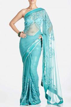 Sheer Blue Embroidered Saree - Satya Paul