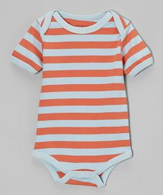 Another great find on #zulily! Orange & Blue Stripe Organic Bodysuit - Infant by wiggle, giggle, coo #zulilyfinds