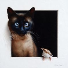 """Marina Dieul ~ """"Minauderie 6,"""" Oil, 12'' X 12''. Reminds me of our kitty Roo and the wren that always hung out by the window. I miss that silly kitty so much. http://marinadieul.com/marina-dieul-portfolio-english.html"""