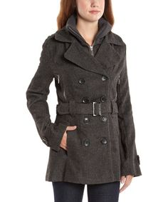 Love this Charcoal Tweed Layered Peacoat on #zulily! #zulilyfinds