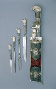 Hunter's set, mid 17th century. Steel, silver, wood, bone inlay. Germany. Via Museum of Applied Arts Budapest.