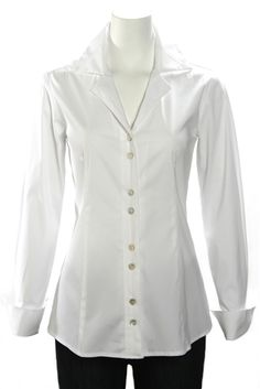 Three Quarter Sleeve Button Down Cotton Shirt | the perfect white ...