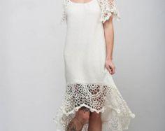 CROCHET turquoise asymmetric Dress Handmade by CrochetDressTalita