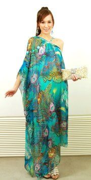 """""""Stand out from the crowd.""""    Silk Chiffon Off-Shoulder Kaftan in Peacock Feather Design  www.kapriceonline.com"""