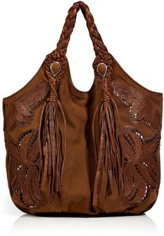 Ermanno Scervino Dark Tan Suedeleather Tote with Fringed Handles