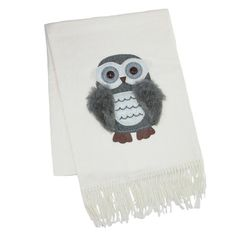 This scarf has a soft, luxurious feel, perfect for keeping warm in the cool fall and winter seasons. The owl decal adds a fun, stylish look, great for pairing with any fall wardrobe or jacket.