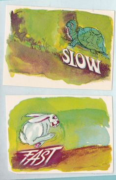 Vintage The Tortoise & Hare Stickers Kids Animals Slow Fast Turtles Rabbits Cute #Handmade