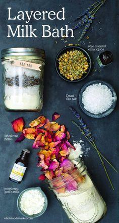 Layered Milk Bath | Natural Beauty DIY | Holistic Cosmetics | Rose Essential Oil in Jojoba, Dead Sea Salt, Dried Rose Petals, Powdered Goat's Milk