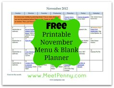 Free, printable menu for November. Includes a blank planner. MeetPenny.com