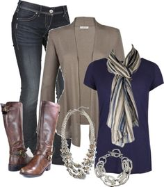 """Taupe, Navy, Green & Brown"" by chells-style on Polyvore"