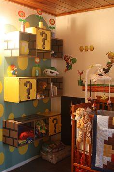 Mario themed shelves.. so cool!!!