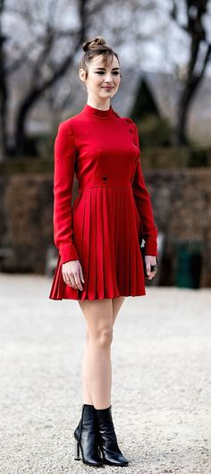 Louise Bourgoin in mini red dress. Paris Couture Week, Spring 2017.