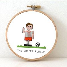 Soccer player Cross Stitch pattern. DIY gift for soccer player. Can be customized to match your team.  By Studio Koekoek